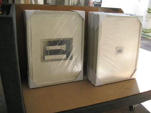 finished Jasper Johns frames on the way to MCASD