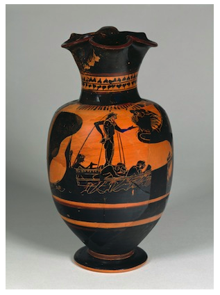 ancient Greek amphora featuring the hero Ulysses