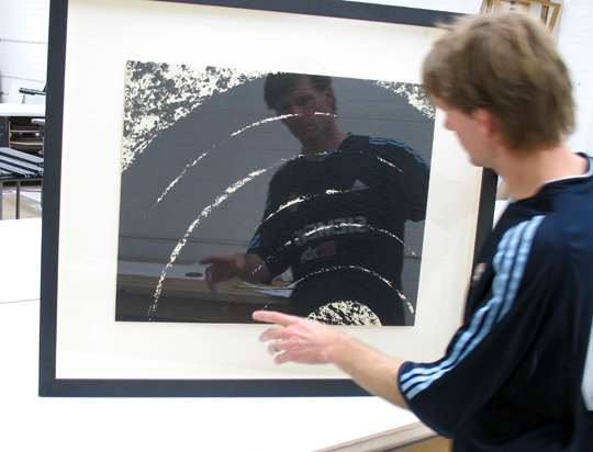 TFM staff checking finished framing of Richard Serra donation to the 2008 MCASD Art Auction