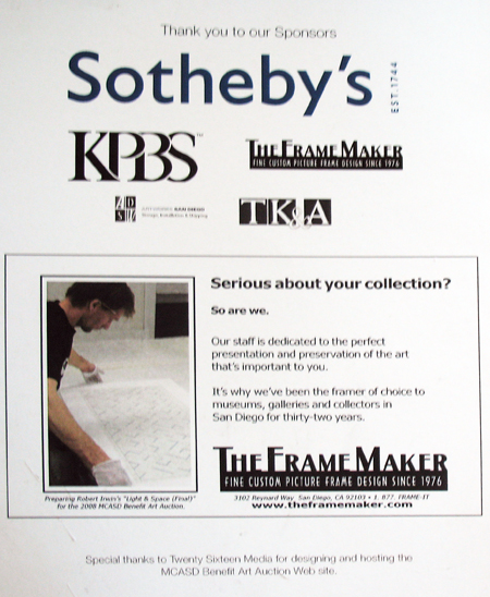 The Frame Maker sponsors 2008 MCASD Auction along with Sotheby's and KPBS