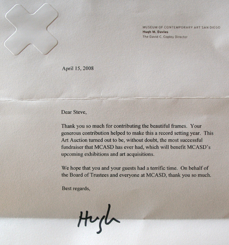 Thank You note from Hugh Davies, MCASD, to Steven Atlas of The Frame Maker