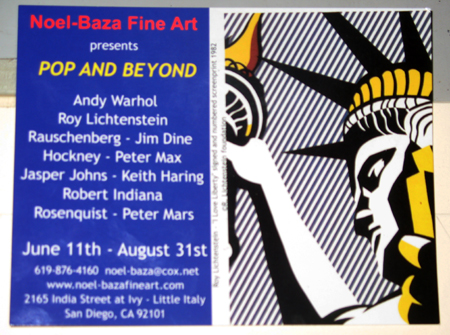 Little Italy San Diego Art Gallery Noel-Baza Fine Art presents Pop and Beyond